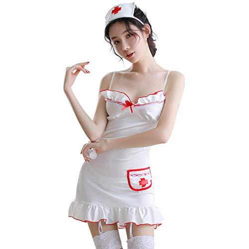 Lencería para Mujer Lencería Sexy Hot Women Babydoll Lenceria Sexi Erotic Dress Cosplay Nurse Maid Disfraces Uniformes Deep V Sex Clothes-C Style Black_One Size
