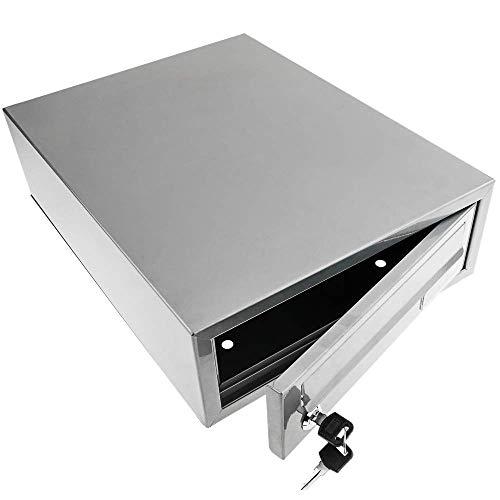 PrimeMatik - Metalen brievenbus voor brieven en post grijze horizontale desktop 300 x 392 x 113 mm