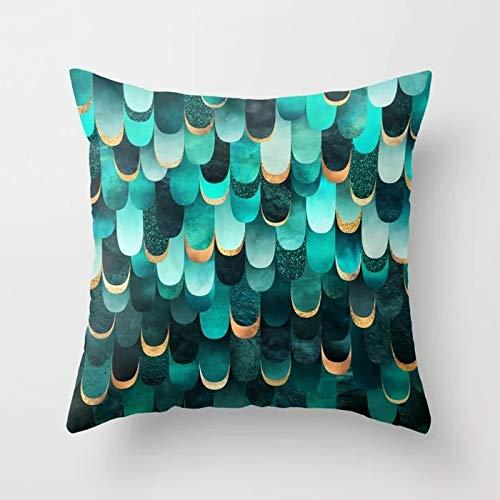 PPMP Funda de Almohada con diseño de Flores y Hojas, Funda de cojín Verde Azul, Funda de Almohada para decoración de sofá en casa, Funda de Almohada para abrazar, A5 45x45cm, 2pcs