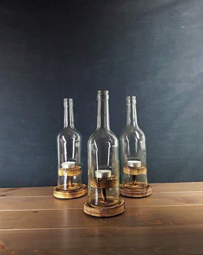 Weinflaschen - Windlicht, Nr. 2 Rustikal
