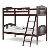 Storkcraft Long Horn Solid Hardwood Twin Bunk Bed, Espresso Twin Bunk Beds for Kids with Ladder and Safety Rail