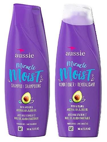 Aussie Miracle Moist Shampoo and Conditioner Set with avocado & australian jojoba oil-12.1 fl oz each