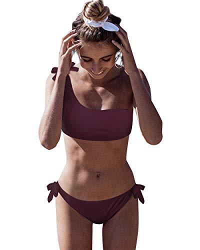 Yuson Bikini da donna, sexy, a strisce, con reggiseno imbottito monospalla push up, con mutanda a triangolo a vita bassa con fiocchi, 2 pezzi B-vino S