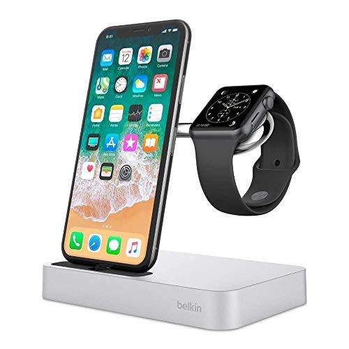 Belkin F8J183vfSLV Valet Dock di Ricarica per Apple Watch Series 4, 3, 2 e 1, iPhone XS, XS Max, XR, X, 8/8 Plus