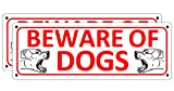 Beware of Dog Sign, 2 Pack Metal Signs for Fence Door Yard Gate, 10 x 3.5 inches Warning Dogs Sign Outdoor, No Fade Rust Free Weatherproof Aluminum Sign