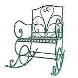 HYYTY-Y Silla Mecedora Individual de Hierro Forjado para Exteriores, sillón de jardín de Ocio con Respaldo Elevado - Verde 624-YY