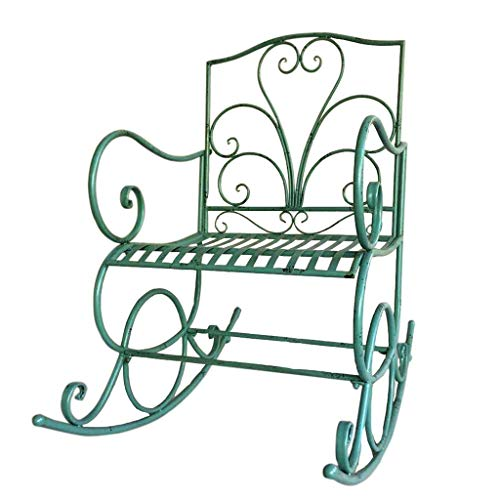 YDLOP Silla Mecedora Individual de Hierro Forjado para Exteriores, sillón de jardín de Ocio con Respaldo Elevado - Verde 1126-YY