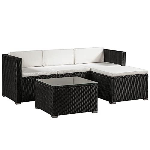 ArtLife Polyrattan Lounge Punta Cana M schwarz – Gartenlounge Set für 3-4 Personen – Gartenmöbel-Set mit Sofa, Tisch und Hocker - Sitzbezüge in Creme
