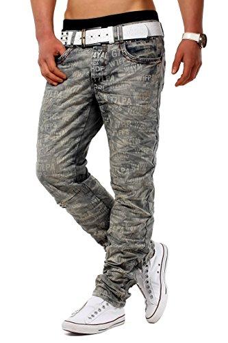 ArizonaShopping Jeansnet Herren Jeans Hose Slim Fit Used Knitter H1280, Größe Jeans:W31