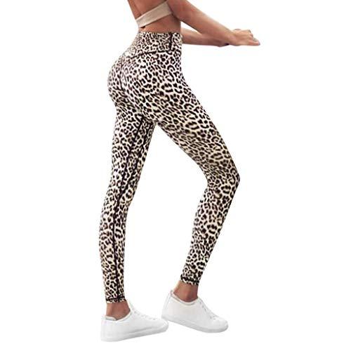 Battnot Damen Sport Leggings Leopard Gedrucket Trainingsgamaschen Elastische Fitness Workout Yogahosen Lange Gymwear Laufen Jogginghosen, Frauen Laufhose Bleistift Hose Activewear Womens Pants S-XL