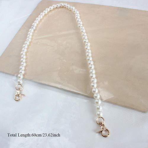 Coner imiteren parel tas riem mode vrouwen schouder handtas ketting charmante portemonnee handvatten gouden ketting tote vrouwen tas onderdelen, wit, 60cm