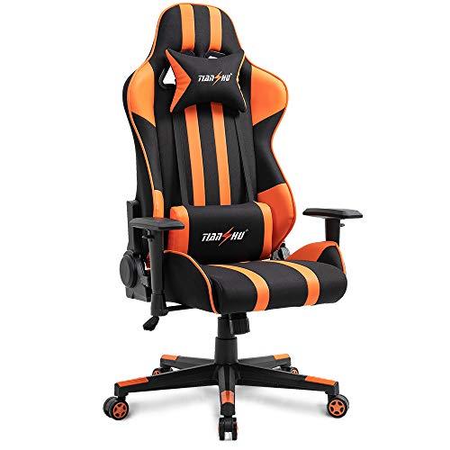 TIANSHU Gaming Stuhl Hochlehner Computerspielstuhl Bürostuhl PP Stoff & PU Leder Rennstuhl PC Ergonomischer Stuhl mit Kopfstütze und verstellbarem Lendenkissen Drehstuhl E-Sports Stuhl, Orange