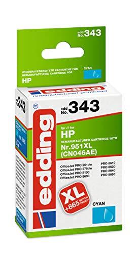 edding Tintenpatrone EDD-343 ersetzt HP 951XL (CN046AE) - Cyan - 30ml