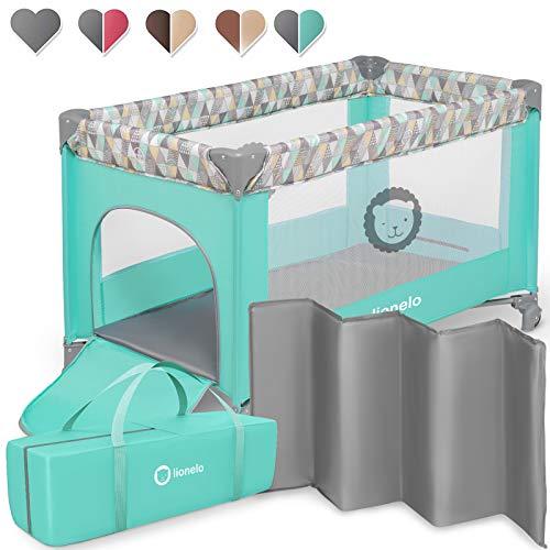 Lionelo Adriaa Baby Bett Laufstall Baby Reisebett Baby ab Geburt bis 15kg Seiteneingang Lockguard System und Blockade der Räder Moskitonetz Tragetasche zusammenklappbar (Türkis)