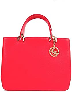 Michael Kors Leather Anabelle Large Top Zip Tote Bag (Coral)