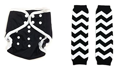 BB2 Baby One Size Snaps Cloth Diaper Cover for Prefolds + Chevron Leg Warmer (One Size, Black)
