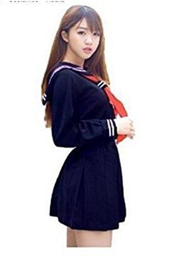 Evalent Traje de marinero japons para cosplay, traje de marinero, traje de vestido de uniforme escolar - rojo - M