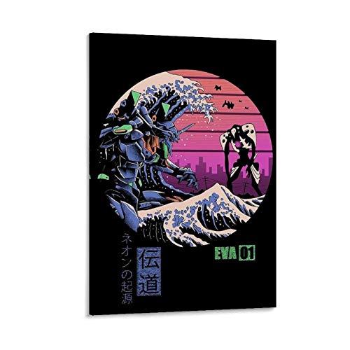 ZXCDS Aesthetic Neon Genesis Evangelion Poster decorativo da parete per soggiorno, camera da letto, 12 x 18 pollici (30 x 45 cm)