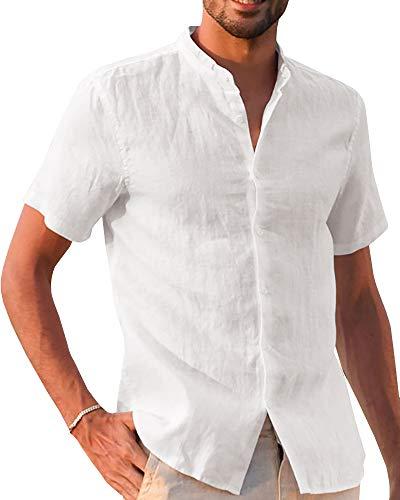 Gemijacka Leinenhemd Herren Hemd Herren Kurzarm Sommerhemd Herren Regular Fit Freizeithemd, Weiß, L L Weiß
