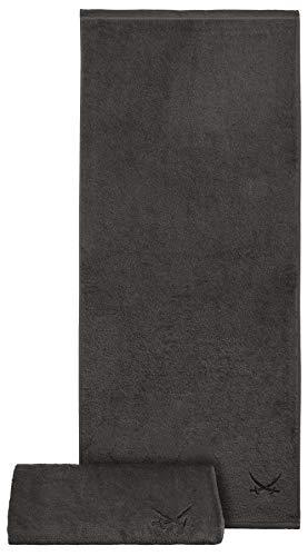 Sansibar Badetuch 2er Set 90x180 cm 100% Baumwolle mit gesticktem Säbel Logo Strandtuch Saunatuch Anthrazit