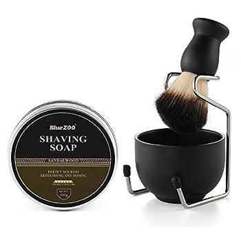 Aethland Shaving Brush Set for Men Include 100g Shaving soap Hair Shaving Brush with Solid Wood Handle and Dia 3.1 inches Stainless Steel Shaving Bowl Shaving Stand Wet Shaving