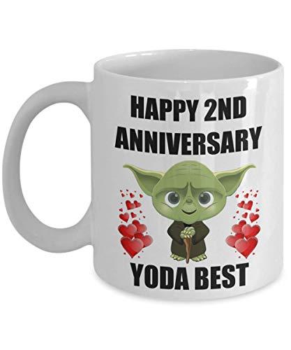 2 años, segundo aniversario de boda, regalos divertidos sexys para Yoda, la mejor esposa, esposo, novio, novia, pareja, hombres, mujeres, taza de café de Star Wars