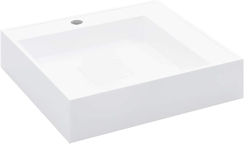 VidaXL Waschbecken mit Wasserhahnloch Waschtisch Waschschale Aufsatzwaschtisch Hngewaschbecken Hngewaschtisch 50x50x12,3 cm Mineralguss Gussmarmor Wei