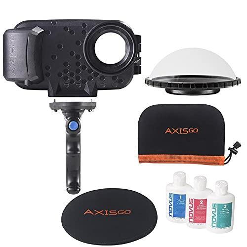 Over/Under Kit Carcasa acuática Aquatech AxisGO para iPhone 12, iPhone 12 Pro y iPhone 12 Pro MAX Color Negro - AxisGo 12 Pro, Pistol Grip Bluetooth, Dome, Funda Dome, Funda Protectora y Kit Limpieza