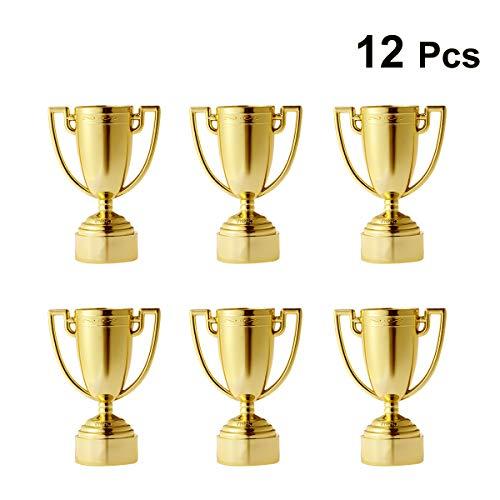 Toyvian 12pcs Cup Trophy Plastic Trofei per Bambini Competizioni Premi Feste Bomboniere Puntelli Premi Premi Giochi Scuola Ragazzi e Ragazze (Oro)