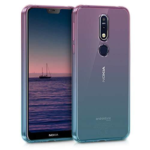 kwmobile Hülle kompatibel mit Nokia 7.1 (2018) - Hülle Handy - Handyhülle Zwei Farben Pink Blau Transparent