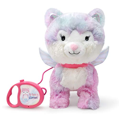 Cuddle Barn | Enchanted Pets - Comet 11' Cat Animated Stuffed Animal Plush Toy for Girls | Winged Walking Kitty Wags Tail and Walks to Leash Activation | Plays Playful Phrase