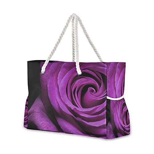 Bolsas de playa grandes Totes lona Tote bolsa de hombro púrpura rosa resistente al agua bolsas para gimnasio viaje diario 001