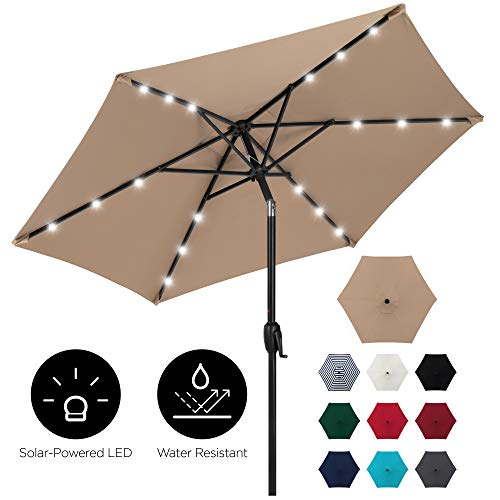 Best Choice Products 7.5ft Outdoor Solar Patio Umbrella for Deck, Pool w/Tilt, Crank, LED Lights - Tan
