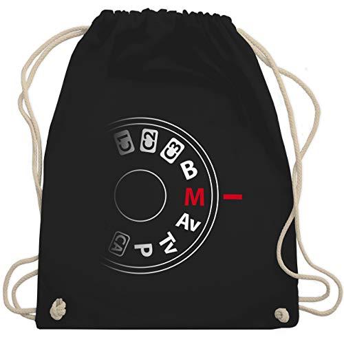 Shirtracer Fotografen - Kamera Einstellrad - Unisize - Schwarz - turnbeutel kamera - WM110 - Turnbeutel und Stoffbeutel aus Baumwolle