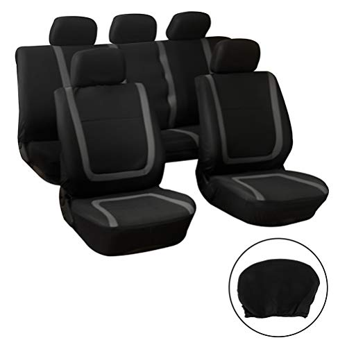 SCITOO Universal Grey On Black Car Seat Covers W/Headrest 9PCS Breathable Mesh Cloth Retractable Seat Cover Replacement for Most Cars