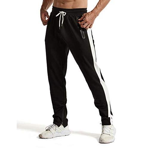 YSENTO Mens Gym Joggers Slim Fit Jogging Bottoms Running Tracksuit Bottoms for Men Zip Pockets