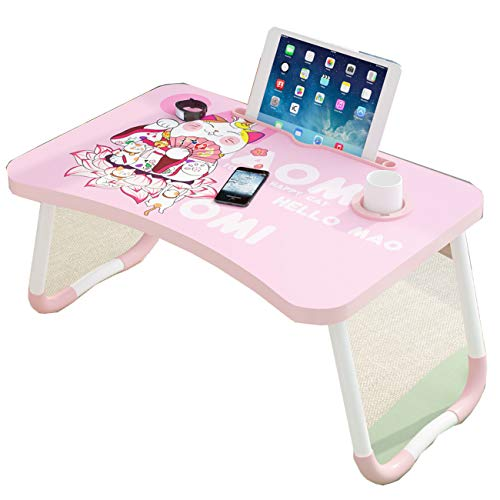 Foldable Lap Desk Portable Lap Standing Desk Breakfast Folding Small Dormitory Table , Notebook Stand Reading Holder & Handle - Children's Drawing Students Desk/Game Table (Cartoon cat)