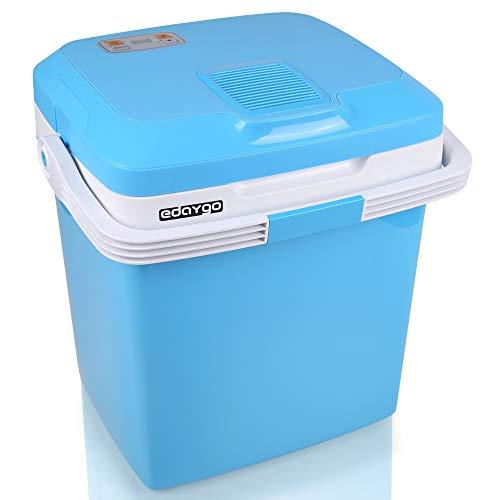 Edaygo Thermoelektrische Kühlbox Mini-Kühlschrank Auto Camping Kühlschrank, mit Kühl- und Warmhaltefunktion, ECO Modus, 12 V / 230 V/USB Anschluss, 26 l