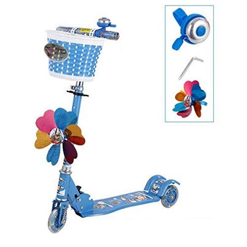 YWSZJ Scooter de Tres Ruedas para niños con Ruedas Intermitentes Scooter Plegable con amortiguación de Resorte (Color : Blue)