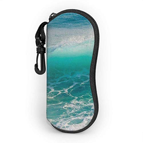 Funda de Gafas Increíbles olas del mar del océano Ultra Ligero Neopreno Suaves viaje Estuche para Gafas de caso Bolsa con Clip de Cinturón