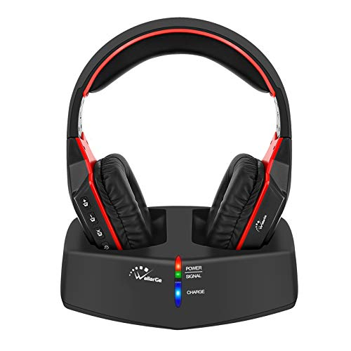 WallarGe Wireless TV Headphones Over-Ear Headset - 2.4GHz Headphones with Digital Stereo for TV Watching and Seniors,RF Transmitter,100ft Wireless Range,12 Hours Battery Life.