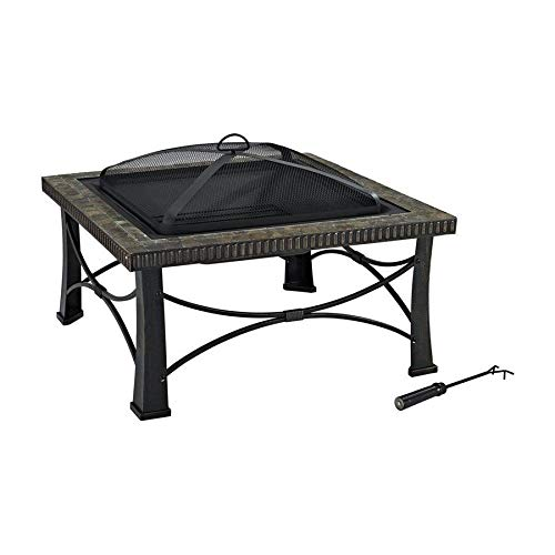 Read About PINSPIRATION Wood Burning Fireplace Patio Deck Furniture Black Steel Fire Warm for Winter...