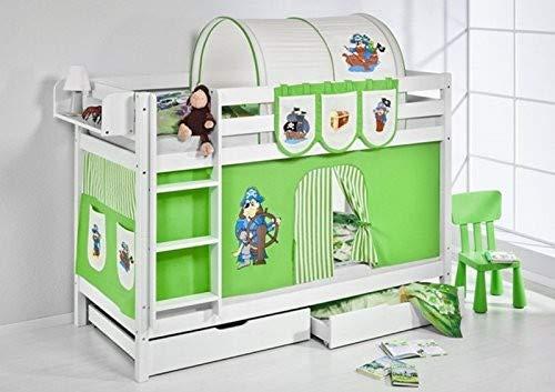 Lilokids Etagenbett Jelle TÜV und GS geprüft Pirat, Hochbett mit Vorhang und Lattenroste Kinderbett, Holz, grün/beige, 208 x 98 x 150 cm