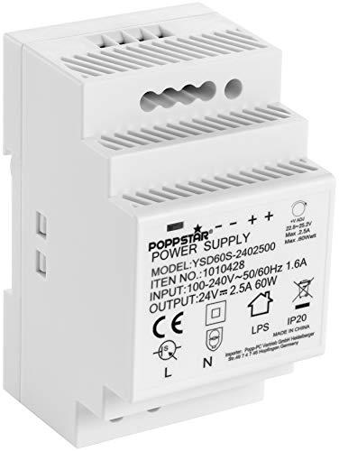 Poppstar Trasformatore 220 24V per barra DIN (ingresso 100-240 V AC 50/60 Hz, uscita 24 V DC 2,5 A 60 W) DIN rail alimentatore 52,5 * 90 * 58mm, bianco