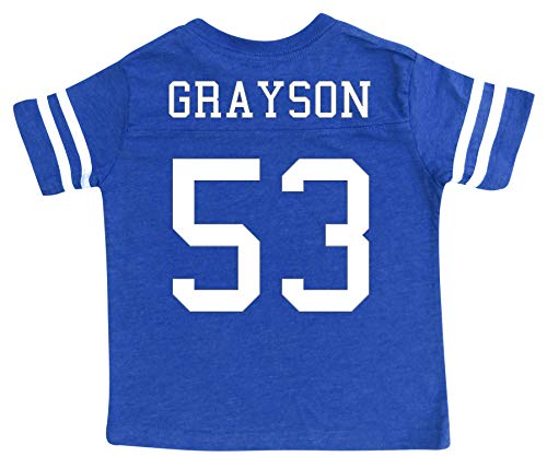 Custom Football Sport Jersey Toddler & Child Personalized with Name and Number (2T, Vintage Royal)