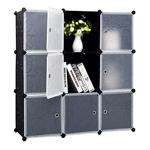 BASTUO Cube Storage Organizer, 9 DIY Plastic Closet Organizer Cabinet, Modular Bookcase Storage Shelves, Cube Organizer with Doors for Office, Livingroom, Black