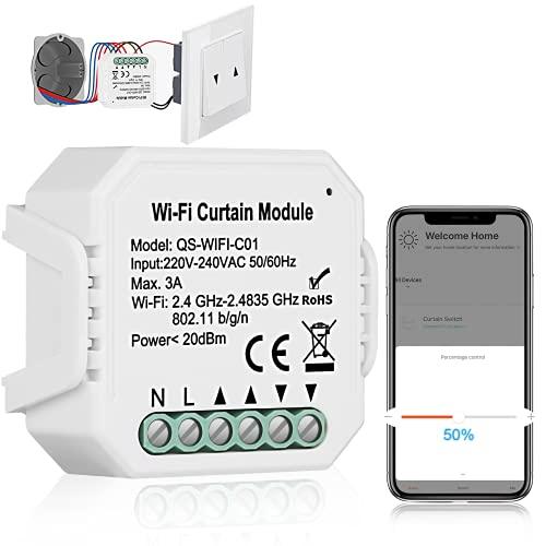 WiFi Rolladen Zeitschaltuhr Relais Modul, TEEKAR Prozent Funktion WLAN Rolladenschalter mit Timer-Funktion, Voice APP Steuerung Rollladenschalter Modul Kompatibel mit Tuya, Alexa und Google Home
