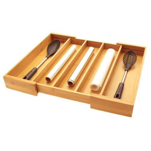 Woodquail - Vassoio espandibile per posate, da inserire in un cassetto in cucina realizzato in naturale legno di bambù