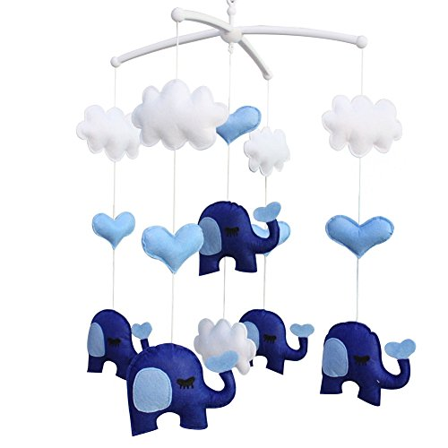Berceau de lit de bébé rotatif coloré jouets de bébé [Éléphant bleu]