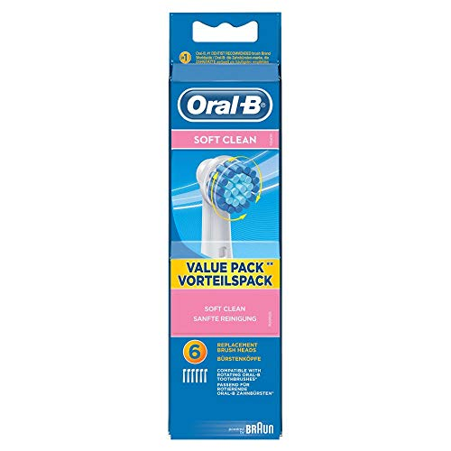 Oral-B Soft Clean Aufsteckbürsten, für eine sanfte Reinigung am Zahnfleischrand, 6 Stück